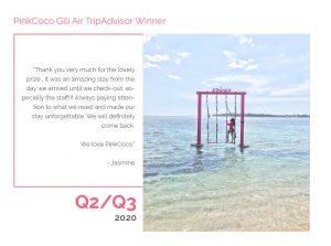 PinkCoco Gili Air Tripadvisor Winner Q2-Q3 2020