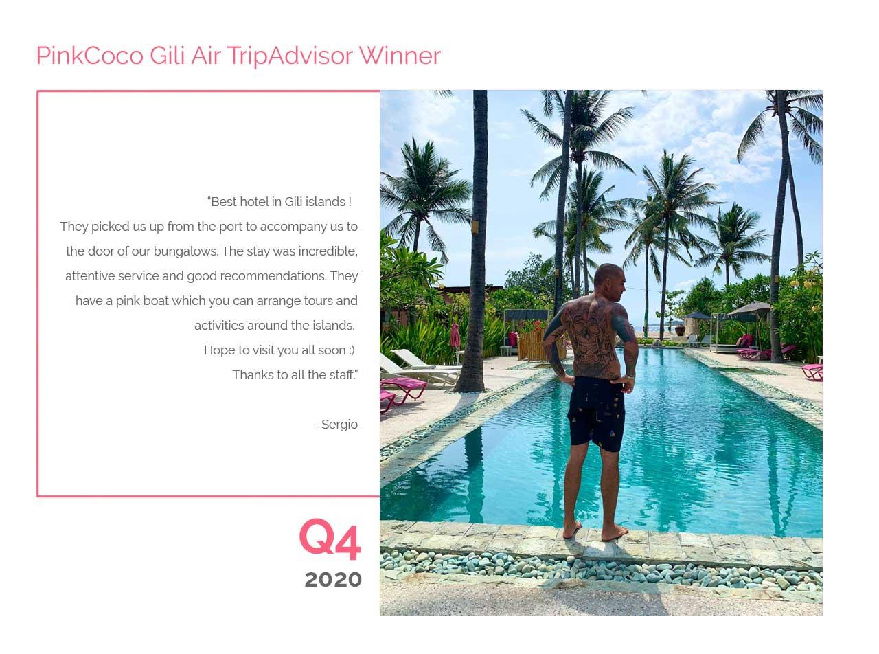 PinkCoco Gili Air Tripadvisor Winner Q4 2020