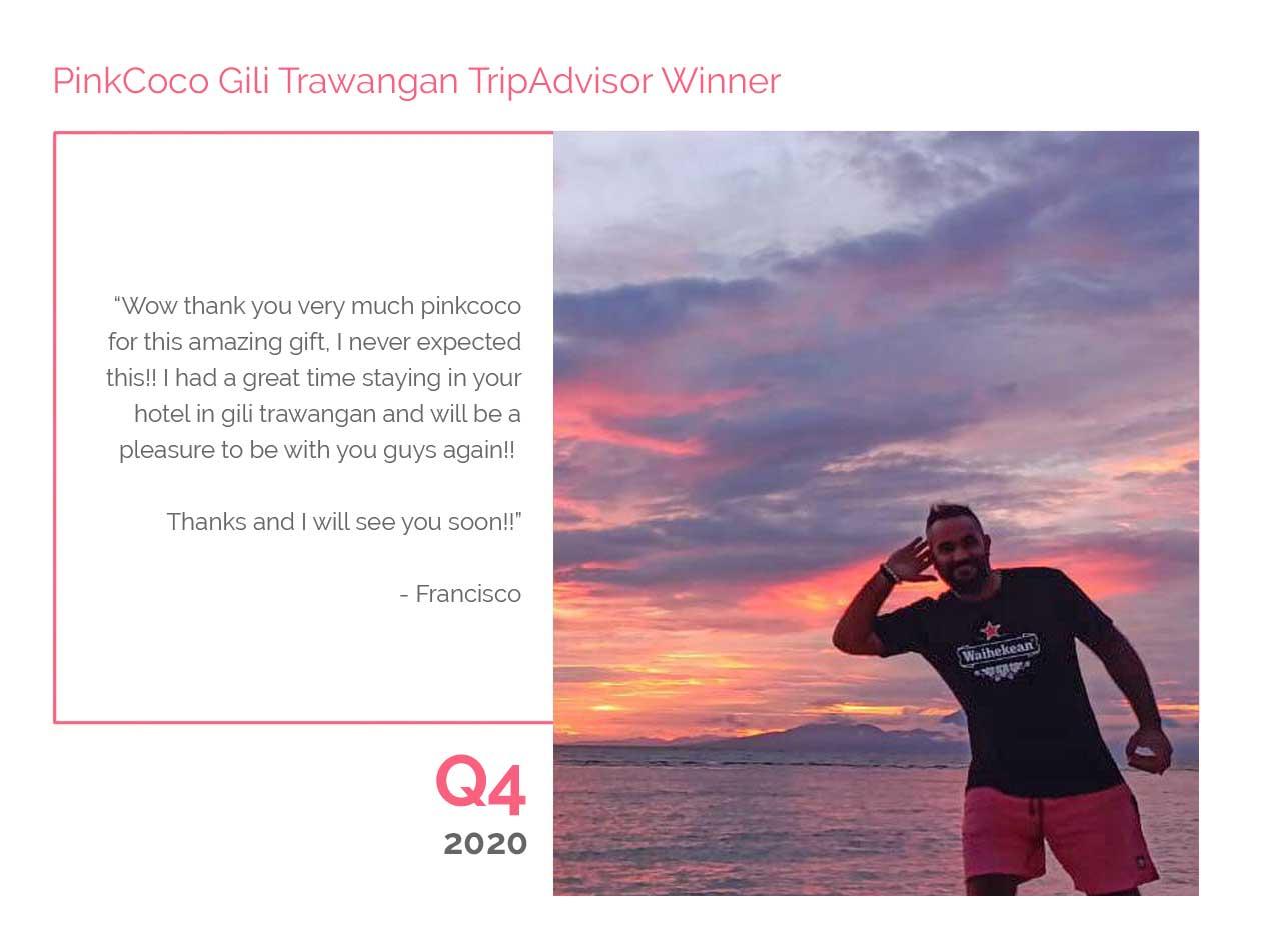 PinkCoco Gili Trawangan Tripadvisor Winner Q4 2020
