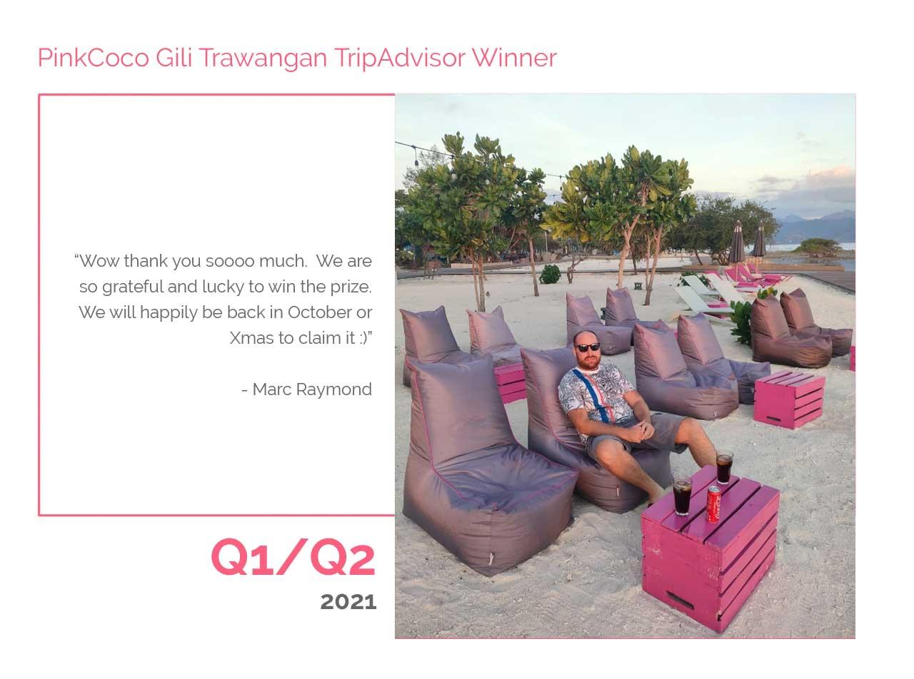 PinkCoco Gili Trawangan Tripadvisor Winner Q1-Q2 2021